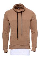 Erkek Şal Yaka T-shirt Detaylı Bej Sweatshirt - Thumbnail