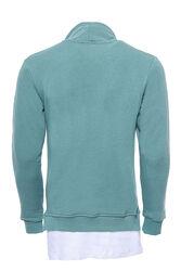 Erkek Şal Yaka T-shirt Detaylı Yeşil Sweatshirt - Thumbnail