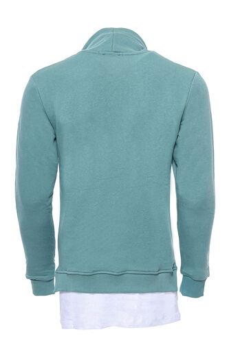Erkek Şal Yaka T-shirt Detaylı Yeşil Sweatshirt