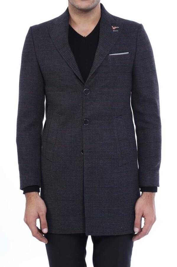 Geniş Sivri Yaka Ekose Antrasit Kısa Palto