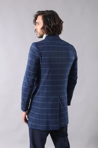 Geniş Sivri Yaka Ekose İndigo Kısa Palto