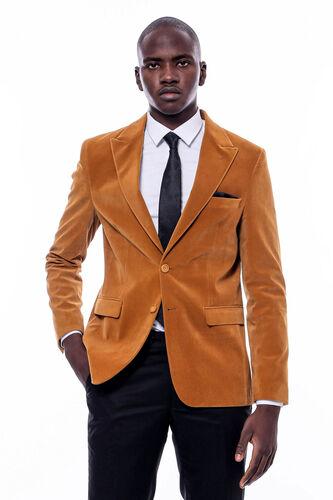 Geniş Sivri Yaka Sarı Velvet Ceket