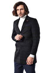 Geniş Sivri Yaka Ekose Siyah Kısa Palto - Thumbnail