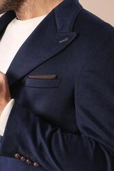 Geniş Yaka Diz Üstü Mavi Palto - Thumbnail