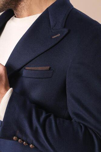 Geniş Yaka Diz Üstü Mavi Palto