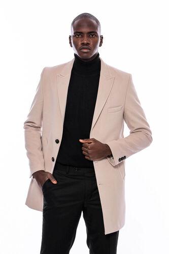 Geniş Yaka Krem Kısa Palto | Wessi