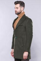 Geniş Yaka Yeşil Diz Üstü Palto | Wessi - Thumbnail