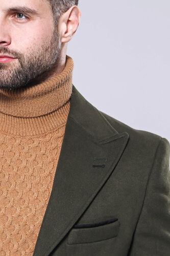 Geniş Yaka Yeşil Diz Üstü Palto | Wessi