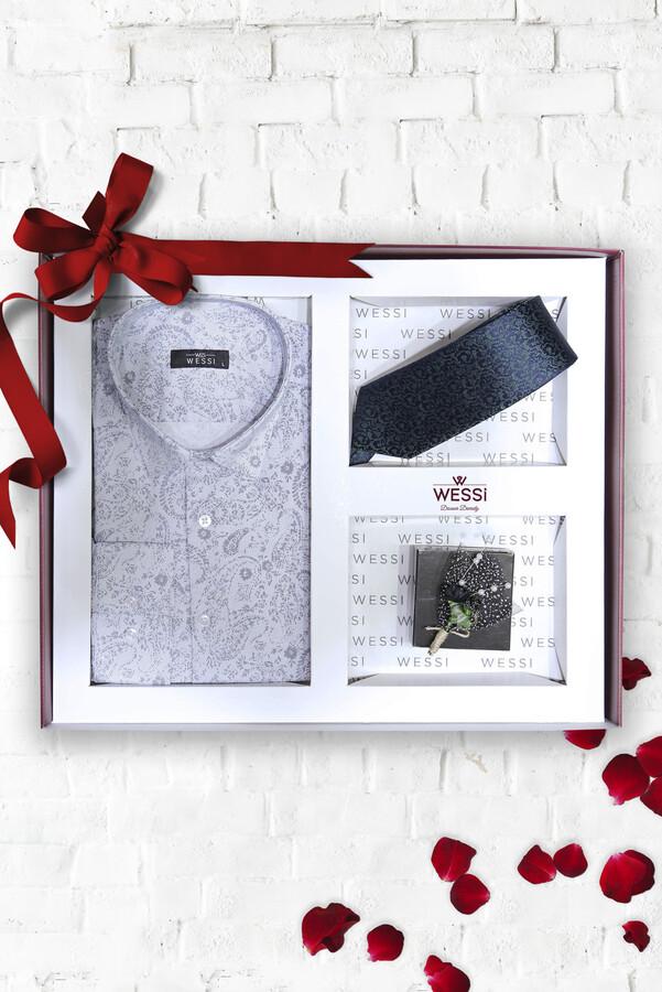 Gömlek Kravat Yaka Çiçeği Hediye Seti | Wessi