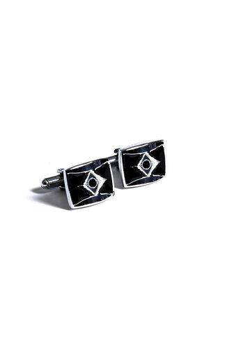 Gümüş Siyah Taş Detaylı Kol Düğmesi