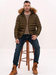 Haki Kürklü Erkek Şişme Mont | Wessi - Thumbnail