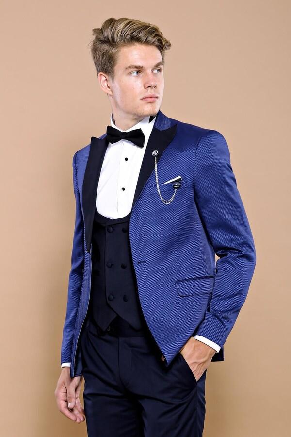 İndigo Ceketli Damatlık Takım Elbise | Wessi