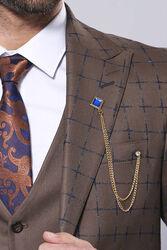 Kahverengi Ekose Yelekli Spor Takım Elbise | Wessi - Thumbnail