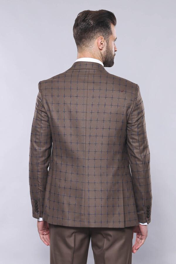 Kahverengi Ekose Yelekli Spor Takım Elbise | Wessi