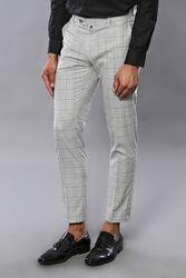 Kare Desen Gri Kumaş Pantolon | Wessi - Thumbnail