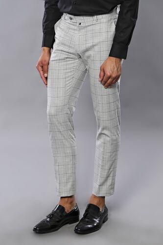 Kare Desen Gri Kumaş Pantolon | Wessi