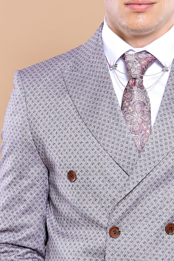 Kare Desenli Bordo Kruvaze Takım Elbise | Wessi
