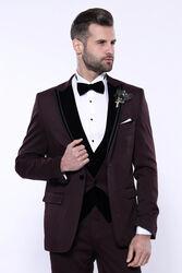 Kendinden Desenli Bordo Çıkma Velvet Yaka Takım Elbise | Wessi - Thumbnail