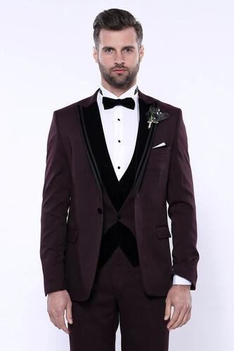 Kendinden Desenli Bordo Çıkma Velvet Yaka Takım Elbise | Wessi