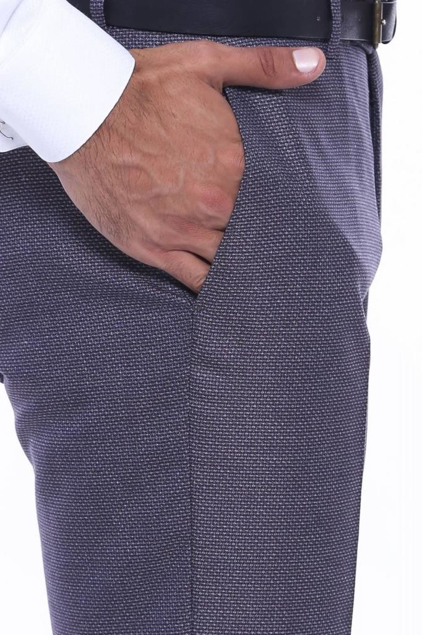 Kendinden Desenli Bordo Gri Kumaş Pantolon