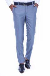 Kendinden Desenli Açık Mavi Kumaş Pantolon - Thumbnail