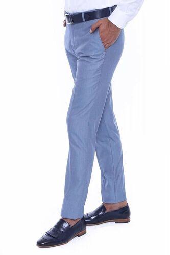 Kendinden Desenli Açık Mavi Kumaş Pantolon