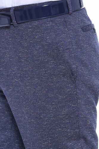 Kendinden Desenli Lacivert Kumaş Pantolon