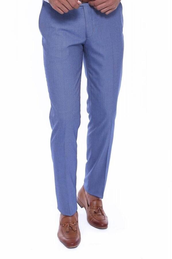 Kendinden Desenli Mavi Kumaş Pantolon