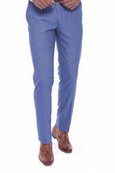 Kendinden Desenli Mavi Kumaş Pantolon - Thumbnail