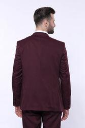 Kendinden Desenli Sivri Yaka Bordo Yelekli Takım Elbise | Wessi - Thumbnail
