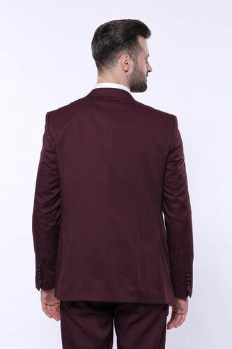 Kendinden Desenli Sivri Yaka Bordo Yelekli Takım Elbise | Wessi