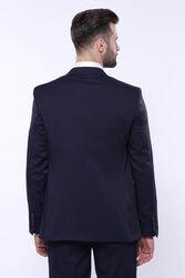 Kendinden Desenli Sivri Yaka Lacivert Yelekli Takım Elbise   Wessi - Thumbnail