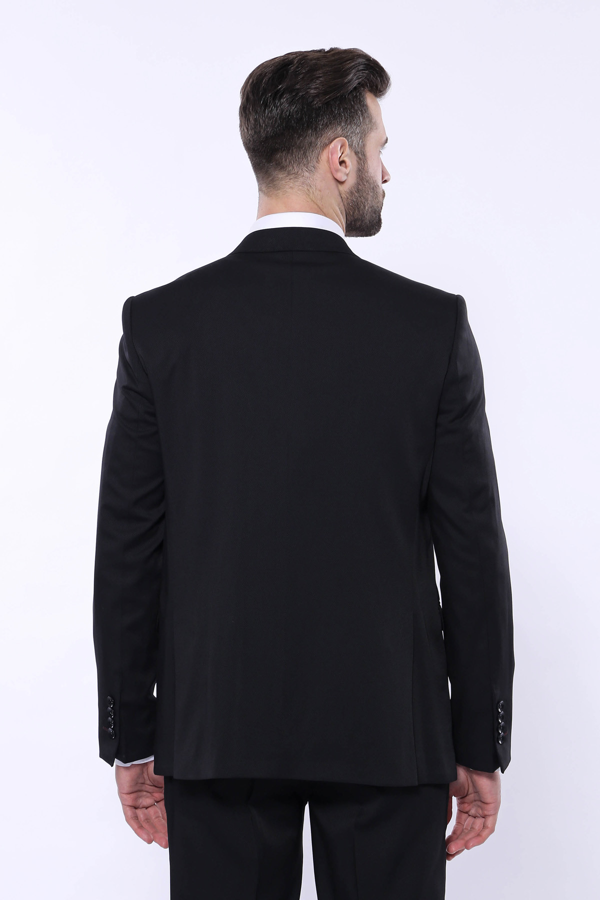 Kendinden Desenli Sivri Yaka Siyah Yelekli Takım Elbise | Wessi