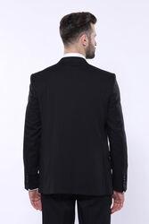 Kendinden Desenli Sivri Yaka Siyah Yelekli Takım Elbise | Wessi - Thumbnail