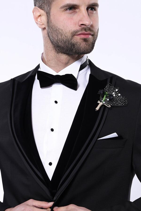 Kendinden Desenli Siyah Çıkma Velvet Yaka Takım Elbise | Wessi