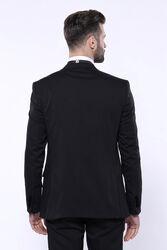 Kendinden Desenli Siyah Çıkma Velvet Yaka Takım Elbise | Wessi - Thumbnail