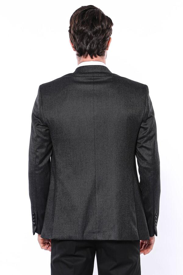 Kendinden Desenli Slim Fit Siyah Tek Ceket   Wessi