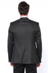 Kendinden Desenli Slim Fit Siyah Tek Ceket   Wessi - Thumbnail