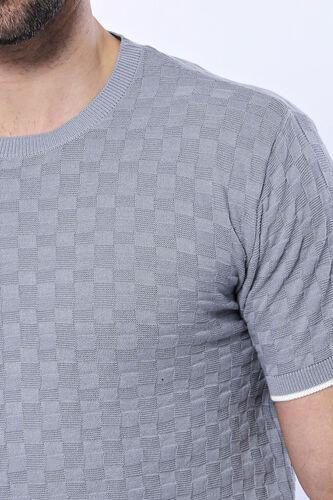 Kendinden Desenli Örme Gri Bisiklet Yaka T-shirt | Wessi