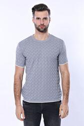 Kendinden Desenli Örme Gri Bisiklet Yaka T-shirt | Wessi - Thumbnail