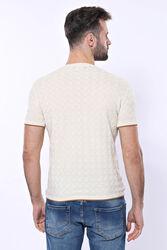 Kendinden Desenli Örme Krem Bisiklet Yaka T-shirt | Wessi - Thumbnail