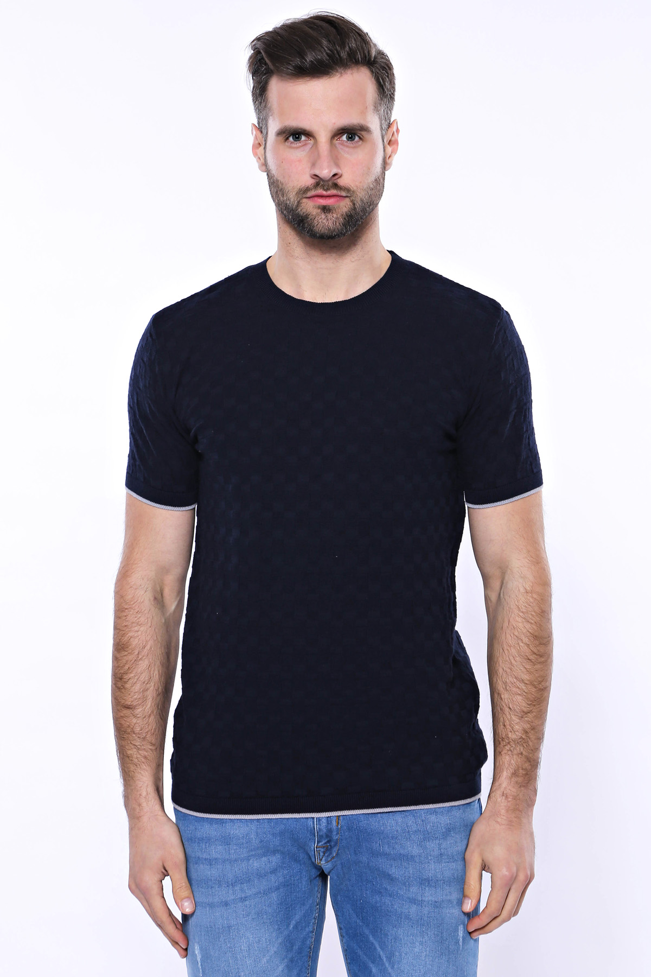 Kendinden Desenli Örme Lacivert Bisiklet Yaka T-shirt | Wessi