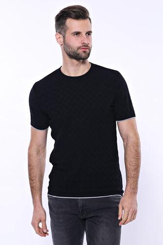 Kendinden Desenli Örme Siyah Bisiklet Yaka T-shirt | Wessi