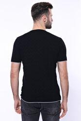 Kendinden Desenli Örme Siyah Bisiklet Yaka T-shirt | Wessi - Thumbnail
