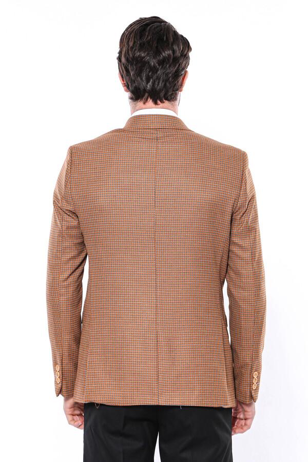 Kendinden Desenli Turuncu Slim Fit Ceket | Wessi