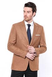 Kendinden Desenli Turuncu Slim Fit Ceket | Wessi - Thumbnail