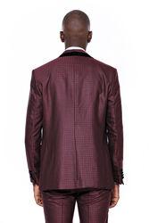 Kendinden Desenli Yelekli Bordo Damatlık Takım Elbise | Wessi - Thumbnail