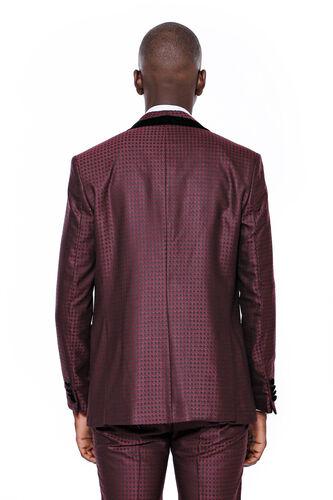 Kendinden Desenli Yelekli Bordo Damatlık Takım Elbise | Wessi