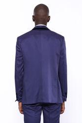 Kendinden Desenli Yelekli Lacivert Damatlık Takım Elbise | Wessi - Thumbnail