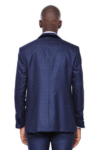 Desenli Yelekli Lacivert Damatlık Takım Elbise | Wessi